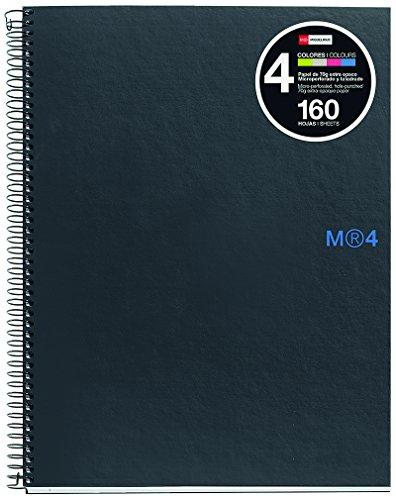 basicos-mr-44907-notizbuch-4-farben-a5-120-blatt-kariert-90-gramm-polypropylen-graphit