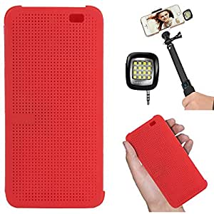 DMG Dot View Interactive Flip Cover Case for HTC One E8 (Red) + 3.5mm Continuous LED Spotlight Flash