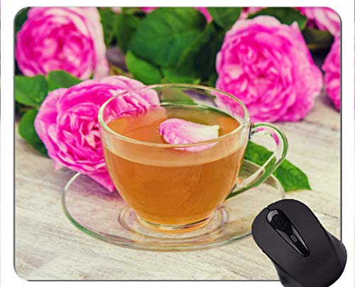 Gaming Mouse Pad Custom, Rose Glas Blume Tee-Getränk - Genähte Kanten (Iphone Verkaufen Zu)
