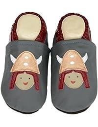 Liya's - Zapatillas de estar por casa de Piel para niño Azul azul claro, color Azul, talla 34