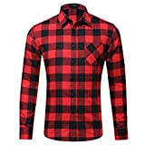 Man Shirt,Ronamick Men's Tartan Plaid Autumn Winter Daily Long Sleeved Pullover Slim Fit Sweatshirts Business Leisure Top Shirt Blouse (Red 2, M)