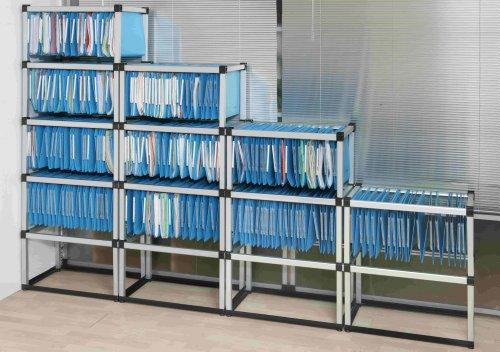 Kit class scaffale in alluminio per cartelle sospese formato a4