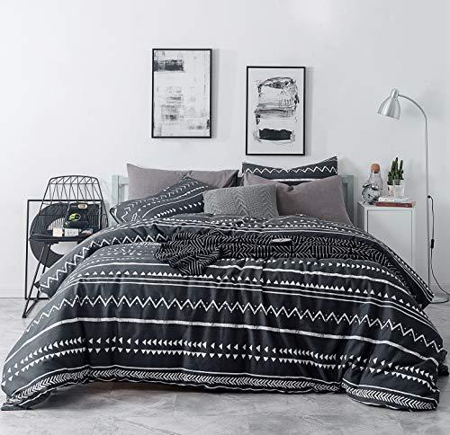 SUSYBAO 3 Stück Bettbezug-Set 100% natürliche Baumwolle Größe Blatt druckt Bettwäsche Set 1 Bettbezug, 2-teilig Muster 18 König