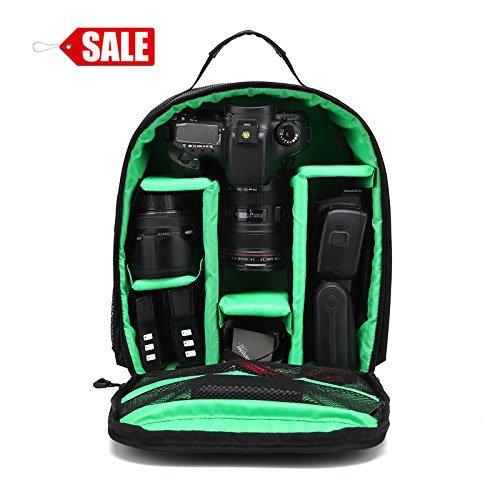 Zaino per Fotocamera SLR + Accessori Zaino Reflex Professionale Impermeabile di nylon Custodia Multifunzionale da Viaggio per Canon Nikon sony DSLR Tablet Y73 Verdi