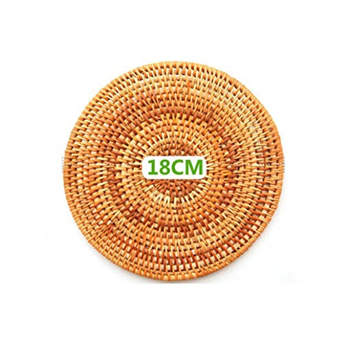 Unbekannt 1pc Creative Drink Coasters Set for Kungfu Tea Accessories Round Tableware Placemat Dish mat Rattan Weave Cup mat pad,18cm