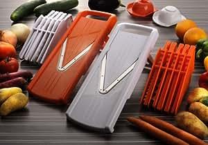 Pro V Hobel 7 in 1- Küchenhobel für Obst, Gemüse, und vieles mehr in Orange von Vidalia, ein genial scharfes, schnelles, zuverlässiges und vielseitiges Küchengerät