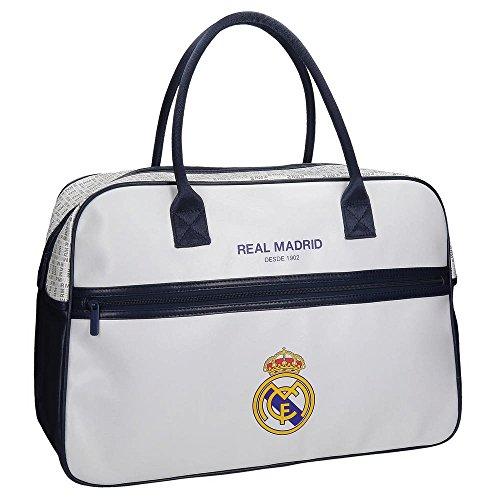 Real Madrid White Rm Bolsa de Viaje, 49 cm, 29.79 Litros, Blanco