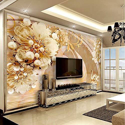 REAGONE Benutzerdefinierte Tapete Transparent Floral Swan Lake Schmuck Hintergrund Wand Wohnzimmer Schlafzimmer Tv Hintergrund 3D Wallpaper, 350X245 Cm (137.8 By 96.5 In)