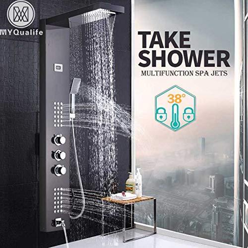 Gebürstetes Nickel-Thermostat-Duschhahn-Wasserfall-Regen-Duschplatte 3 behandelt Badezimmer-Duschmischer-Spalte mit Handshower -