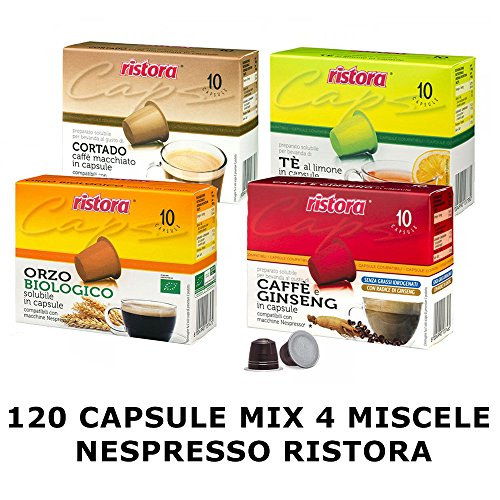 Mix Kaffeepads Kapseln Nespresso Ristora 4Mischungen respresso 120
