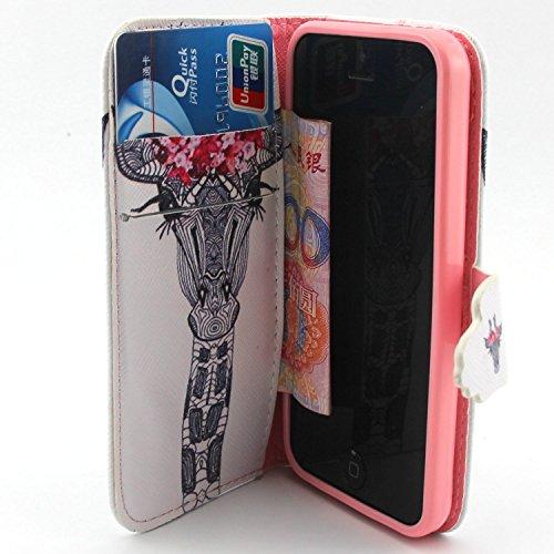 ubmsa-iphone 5C Étui portefeuille à rabat avec support de Crédit Porte-cartes en cuir avec clip ceinture, fermeture magnétique avec fonction de doigts Coque bumper en TPU souple, bercea