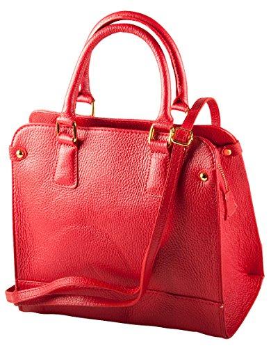 Pelle Italy Damen Henkeltasche Leder 26x24x12 cm (BxHxT), Farbe:Hellblau Rot