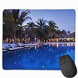 Alfombrilla de ratón Piscina de Hotel de Noche Rectángulo de Palma Antideslizante 9.8in11.8 en diseños Personalizados Gaming Mousepad de Goma Bordes cosidos Alfombrilla de ratón