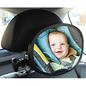 Baby Car Mirror - Highest Stability   Clamp Design   Quick Installation   100% Shatterproof   Easily Adjustable   PREMIUM QUALITY