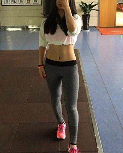 Femme Pantalons De Yoga Corps Serré Était Mince Pantalons Fitness Gris
