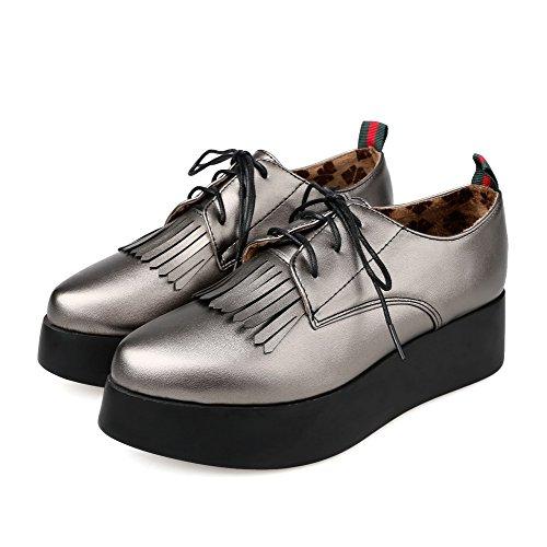 VogueZone009 Damen Blend-Materialien Rund Zehe Niedriger Absatz Rein Schnüren Pumps Schuhe Grau