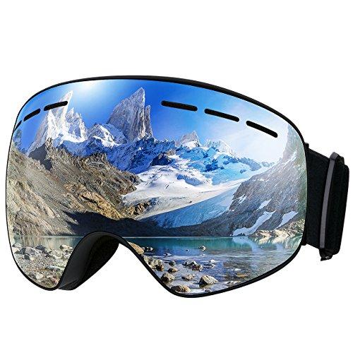 TOPELEK Maschera da Sci, Unisex Snowboard Occhiali da Sci per Sport Invernali, Super-Grandangolo Lente,con Anti-Fog di Protezione UV400, Sistema di Ventilazione Aggiornato per Lo Sci- Grigio