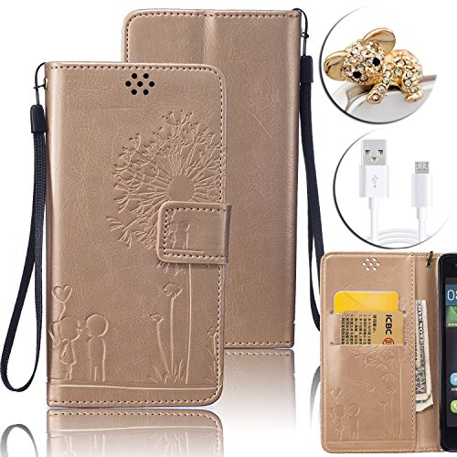 Huawei P9 Lite Custodia in Pelle,Vandot Flip PU Goffratura Portafoglio Dandelion Amante Card Slot TPU Interno Bumper Shell Skin + Cavo USB + Koala Anti-Dust Spina - Oro