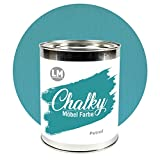 LM-Kreativ Chalky Möbelfarbe deckend (Petrol), deckend, matt finish In- & Outdoor Kreide-Farbe für Shabby-Chic, Vintage und Landhaus Stil, 1 Liter