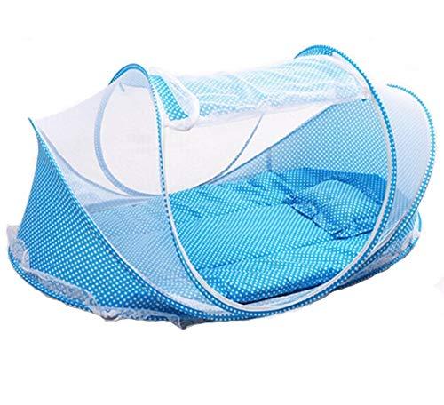 Weimay - tenda zanzariera per neonati, pieghevole, con materasso, portatile, multiuso: culla per viaggio/campeggio, cotone, blu, 110 x 65 x 60 cm