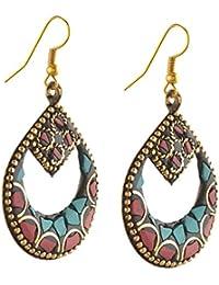 Zephyrr Earrings Tibetan Style Hanging Hook with Inlay Work