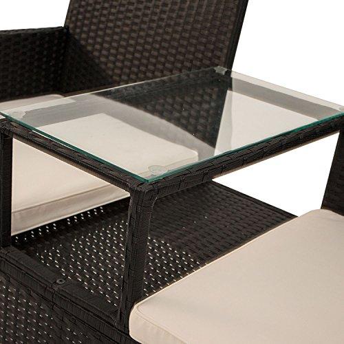 Polyrattan Gartenbank Monaco mit integriertem Tisch für 2 Personen - 5