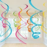 #6: PARTY PROPZ Multi color Swirls pack of 12 /Birthday party decoration/BABY SHOWER DECORATIONS/UNICORN DECORATION/ MY LITTLE PONY BIRTHDAY DECORATION