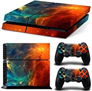 PVC Protection Decal Skin Cover Sticker compatible with Sony PS4 Console & 2 Pc Sticker Controller(TN-PS4-
