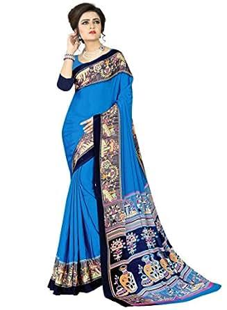 e-VASTRAM Womens Crepe Printed Art Silk Saree(V4001_Blue)