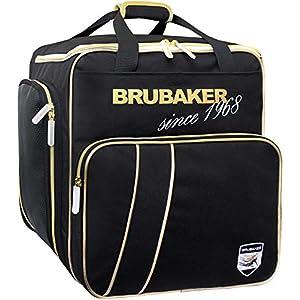 Brubaker Super Grenoble Skischuhtasche Helmtasche Rucksack-Tragesystem mit Schuhfach – Schwarz Gold