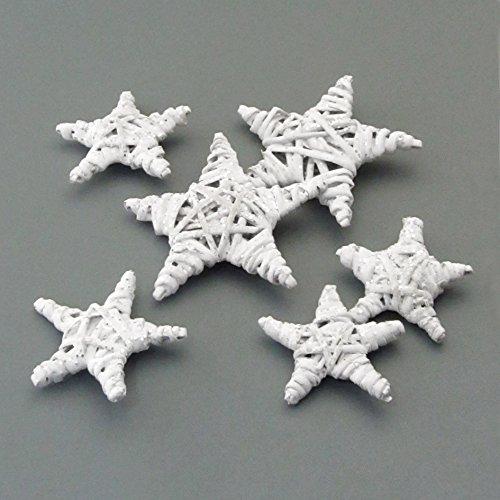 Weide STERN Tischstreu. 6 Rattan Sterne. Je 2 Stück 5, 6 und 8 cm. Set mit 6 Sternen in WEISS -40