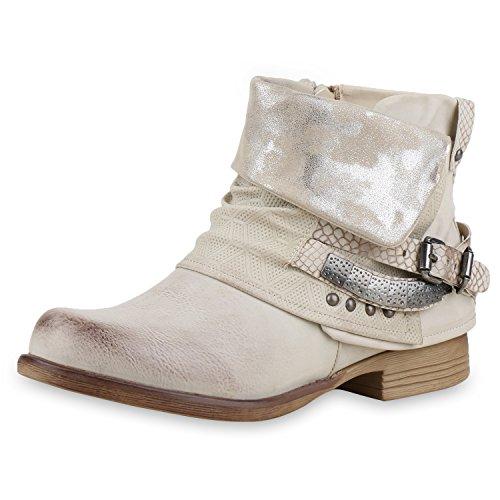 napoli-fashion Gefütterte Damen Schuhe Biker Boots Nieten Schnallen Stiefeletten Creme Nieten 39...