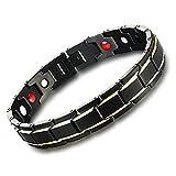Onefeart Titan Stahl Armband Für Männer Jungs Kette Gesundheitsvorsorge Mit Magnetischen Charm Schwarz Gold Armreif