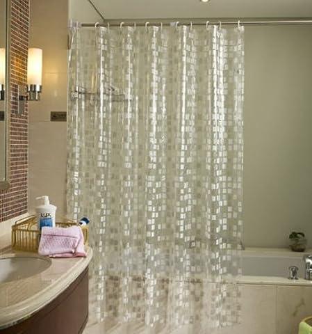 Unique Motif pavés Motif Décrochage Rideau de douche EVA semi-transparent étanche et Mildew-free antibactérien Rideau de salle de bain, à utiliser comme seul ou Liner, Polyester, Mosaic, 32*72