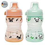 NIP Trainer Cup 260 ml // 2er Set Panda grün & Hase orange // ab 9 Monate // auslaufsicherer, fester Trinkschnabel // BPA frei, made in Germany //