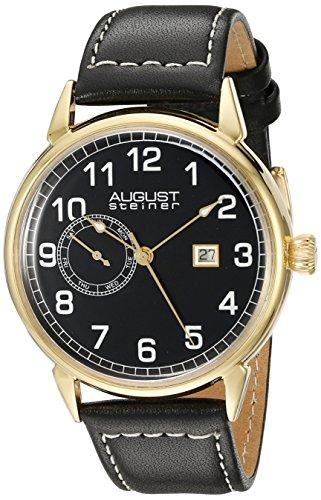 August Steiner Hommes de montre à quartz avec affichage analogique et bracelet en cuir noir cadran noir as8182ygb
