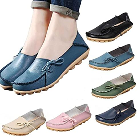 OverDose Women Loafers Suede Leather Driving Moccasins Slip-On Flats Boat Shoes