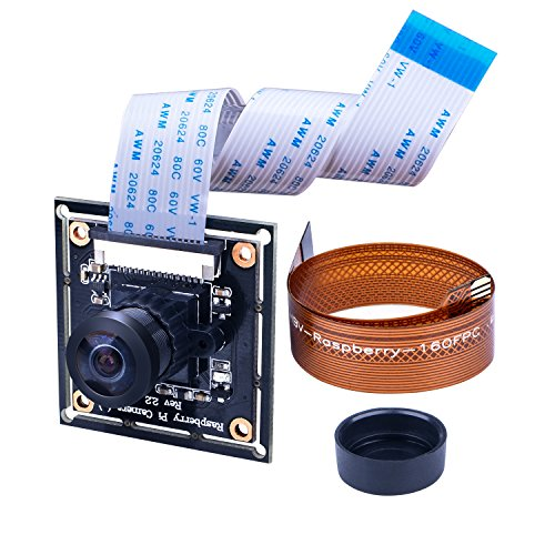 Raspberry PI Camera Module Wide Angle 160°Fisheye Lens Longruner 5MP RPI Camera Adjustable-Focus Module Drone Webcam with 16 Pin FPC Cable For PI 3 B Model & 2 B B+ and RPi Zero Ribbon Cable 15cm for Zero Zero W LC20 (White Ribbon Board)