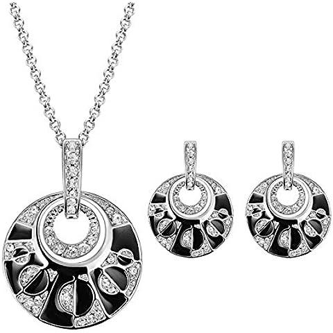 Charm sposa matrimonio perla strass Earring collana cristallo Set di gioielli