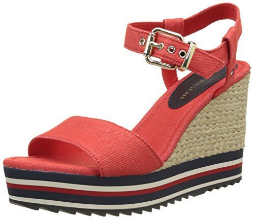 Tommy Hilfiger V1285eranice 1d, Sandales Bout Ouvert Femme Rouge (Fiery Red 617)