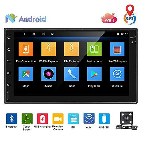 Podofo stéréo de voiture Android 8.0 Autoradio double DIN lecteur DVD de voiture avec haut-parleur écran tactile Miroir Link Navigation GPS WiFi Bluetooth Caméra de recul