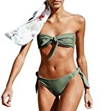 HUIHUI Retro Push Up Bikini Set Damen 2PCS high waist Solid Badebekleidung Swimwear Zweiteilige Strand Neckholder Badeanzug Elegant Strandmode Bademode (M, Grün)