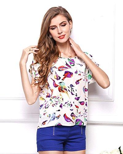 Moollyfox Femmes Imprimé Fleur Col Rond en Mousseline de Soie à Manches Courtes T-Shirts Hauts Oiseau