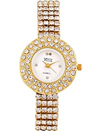 YOUTH CLUB ATTRACTIVE STUDDED ANALOG GOLDEN DIAL WOMEN'S WATCH-FDM-001