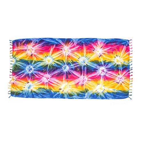 ManuMar Damen Sarong | Pareo Strandtuch | Leichtes Wickeltuch mit Fransen-Quasten (L: 115 x 225 cm, Blau Rot Gelb)