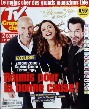 TV GRANDES CHAINES [No 150] du 26/12/2009 - REUNIS POUR LA BONNE CAUSE / ZINEDINE ZIDANE / SANDRINE QUETIER ET FLORENT PAGNY