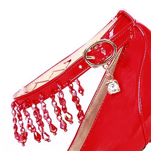 VogueZone009 Donna Punta Tonda Tacco Alto Pelle Di Maiale Puro Fibbia Ballerine Rosso