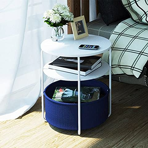 OSPI 3 Tire Side Table/ End Table / Sofa Table Picnic Table with Storage Canvas Basket - W42xL42xH59cm (Navy Blue) (3)