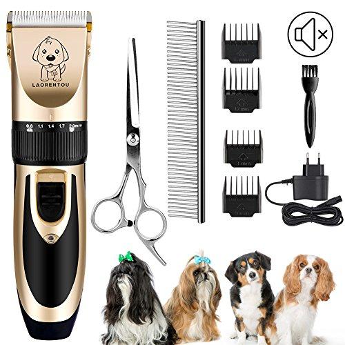 Hund Haarschneidemaschinen, Elektrisch Katze Hund Schermaschine Trimmer Fellpflege Kit mit 4 Kamm/Schere/Edelstahl Haar Kamm, Haustier Tierhaarschneider Leise Vibration für Hunde Katzen Haarschneider -