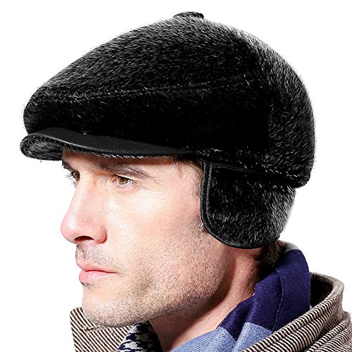 Roffatide Herren Faux Nerz Schirmmützen mit Ohrenklappe Baskenmütze Flache Mütze Barett Golf Kappe Winter (Nerz Kappe Pelz)
